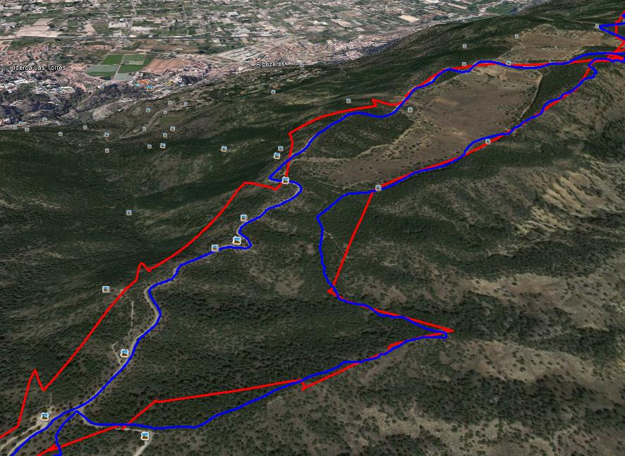 Ruta grabada en modo normal (azul) y UltraTrac (rojo)