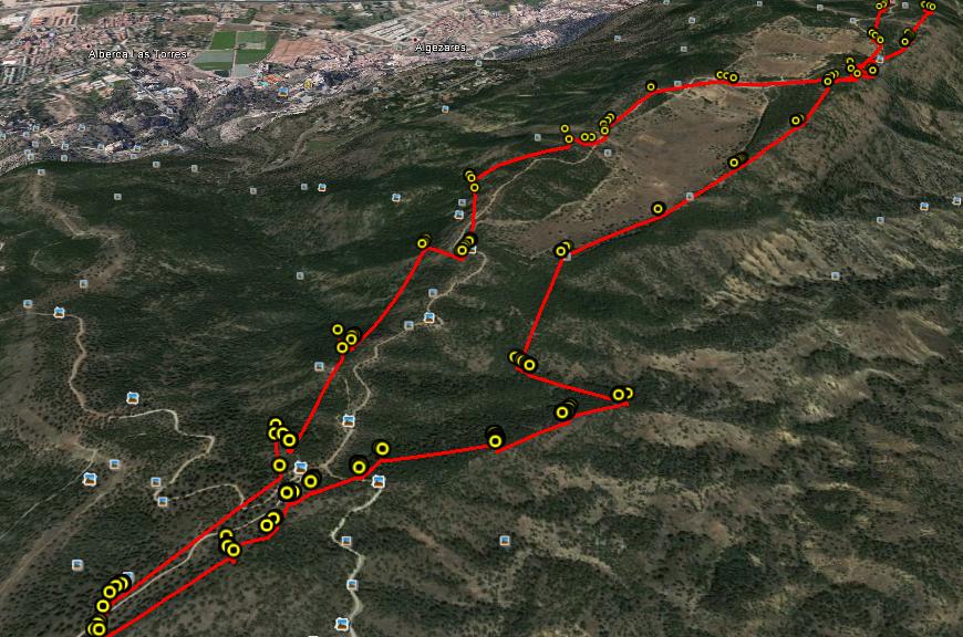 Puntos que el GPS toma como referencia en el modo de grabación UltraTrac