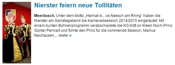 Westdeutsche Zeitung 17.11.2014