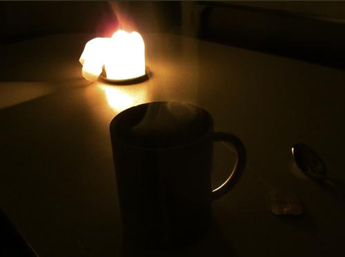 Entspannung Tee Kerzenlicht