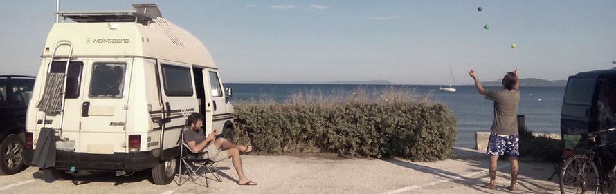 Reisen Hyéres Jonglieren freistehen am Strand