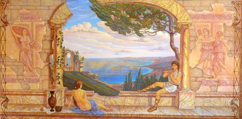 роспись стен басейна в Античном стиле.