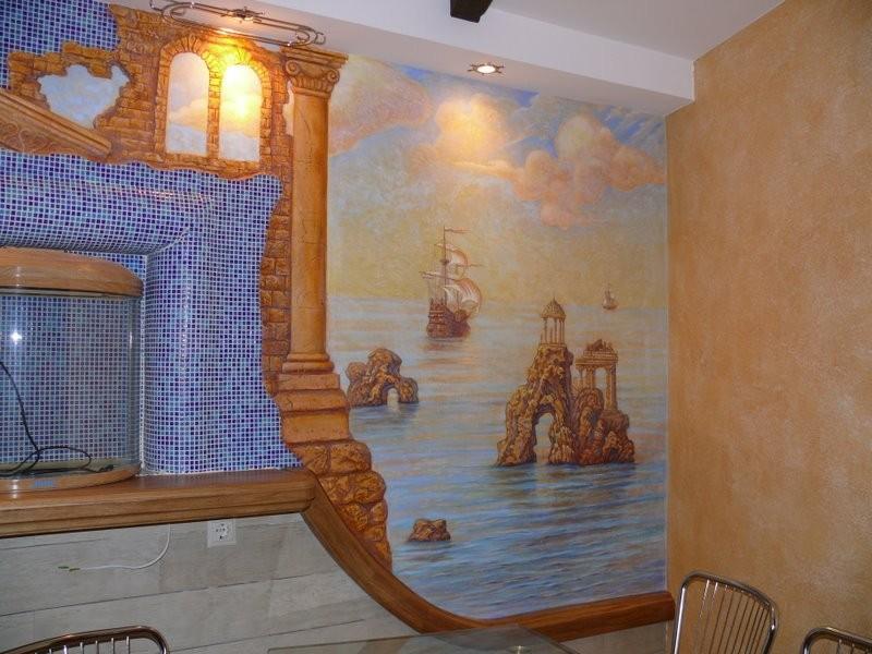 роспись стен кухни квартиры