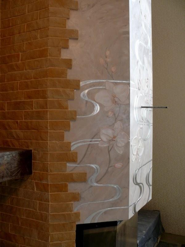 Роспись камина Охидея