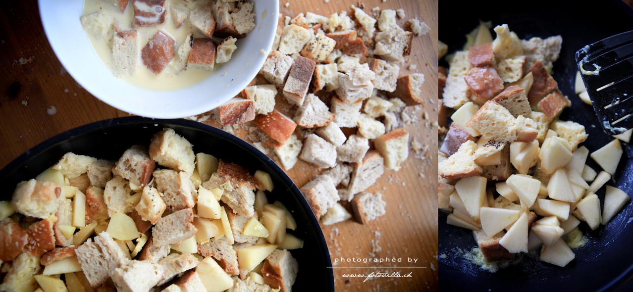 Brotwürfel gut einweichen - und unterdessen etwas Butter in der Bratpfanne schmelzen