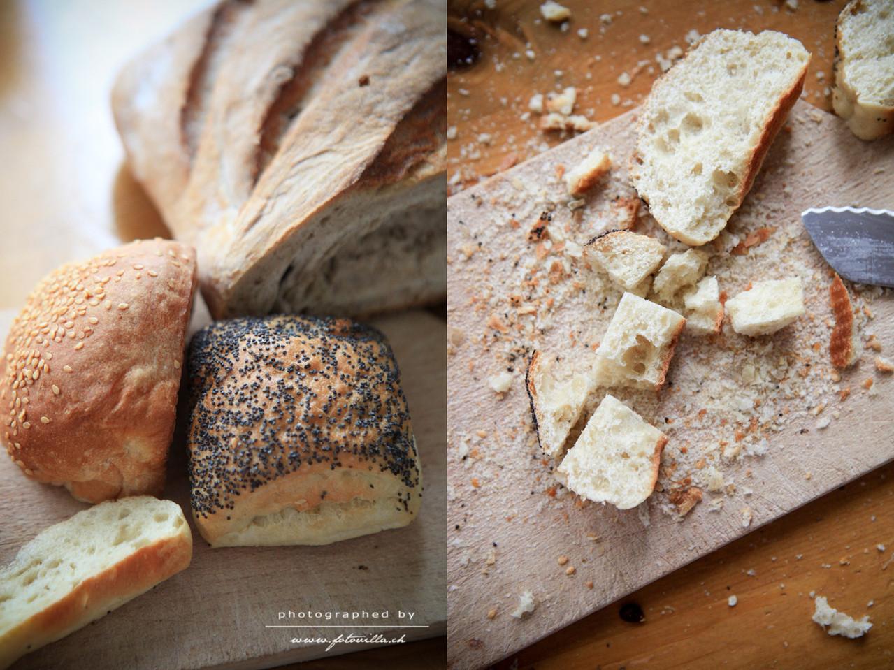 Das harte Brot hingegen schneidet besser das Mami und zwar in Würfel