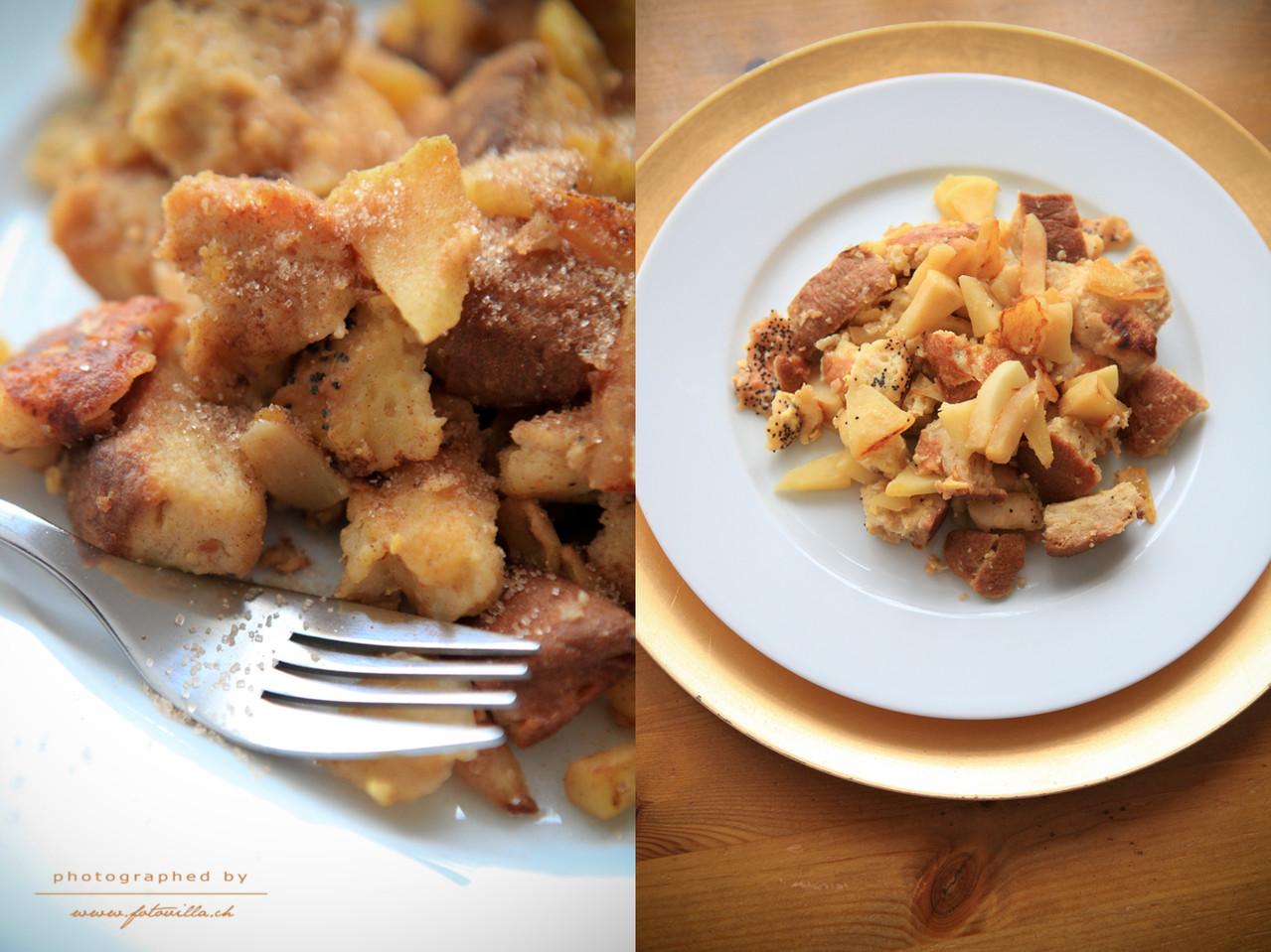 Alles zusammen braten - et voilà - bon appétit (und Mami nimmt noch etwas Zimtzucker dazu)