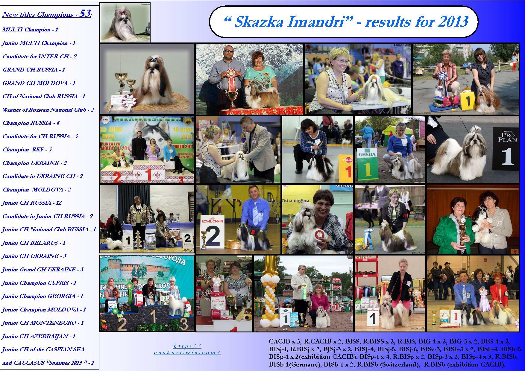 """Show results Kennel """"SKAZKA IMANDRI"""" for 2013"""