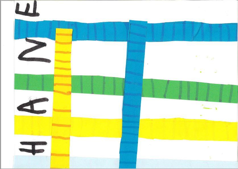 Travail autour des lignes verticales et horizontales : quadrillage autour du prénom