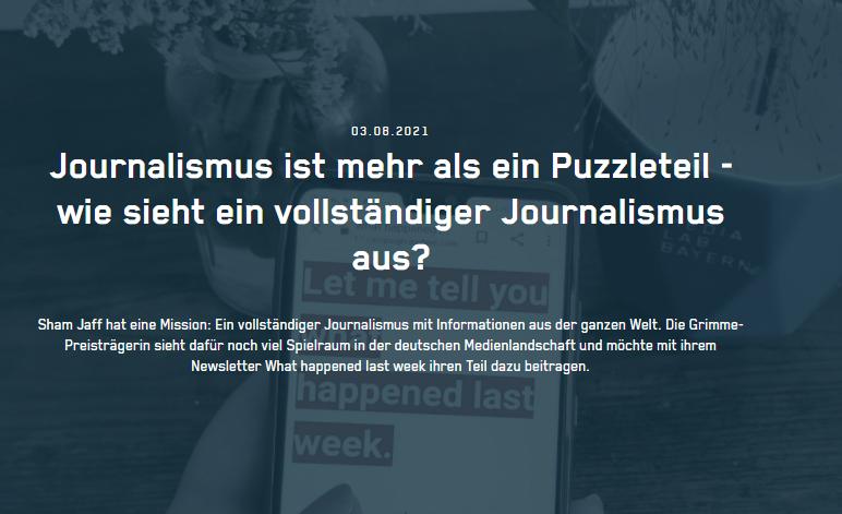 Journalismus ist mehr als ein Puzzleteil - wie sieht ein vollständiger Journalismus aus?