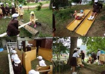 写真3:自分たちの手づくりの遊び場で、こども園の園児や下級生と一緒に過ごす