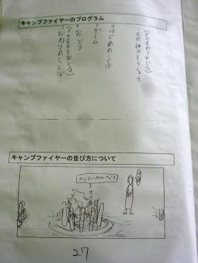 キャンプファイヤー係が作成し、しおりに追加されたページ
