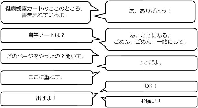 自主学習ノート提出時の実際の対話例