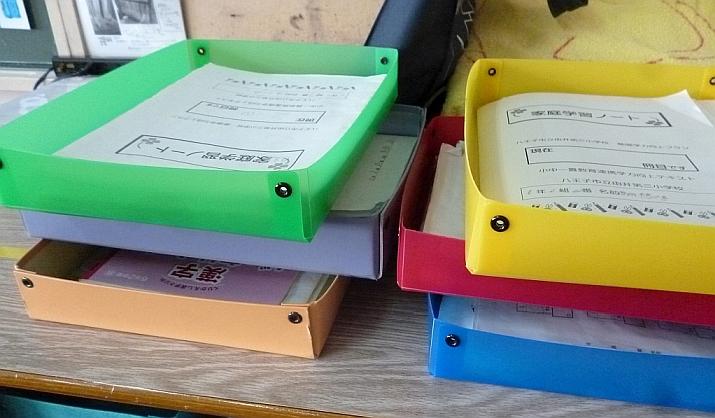 班ごとにまとめたその日の提出物が整然と並ぶ。