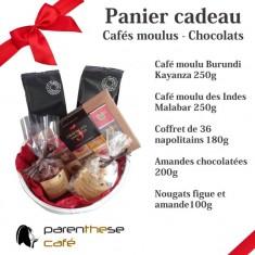 Les paniers cadeaux chocolats de Parenthese Café.