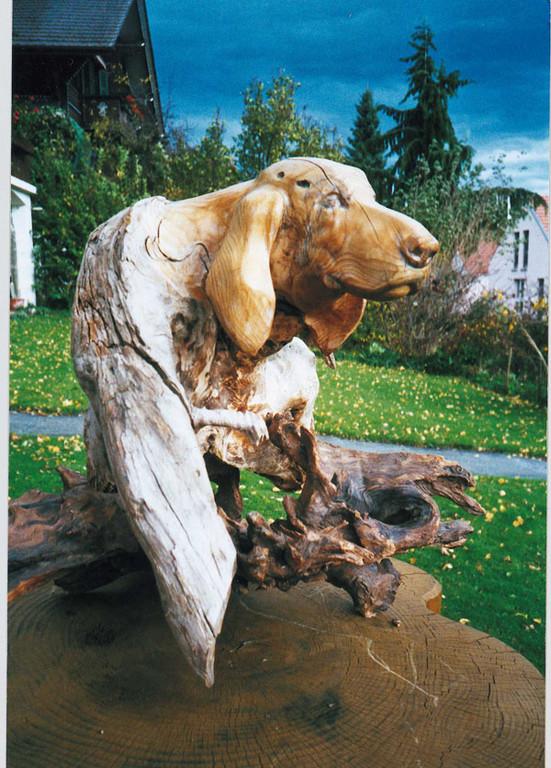 Hundekopf geschnitzt aus einer Holzwurzel