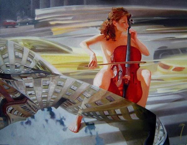 Картина художника Алексея Чернигина  Музыка улиц