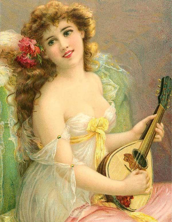 Днем влюбленных, женские образы в открытках