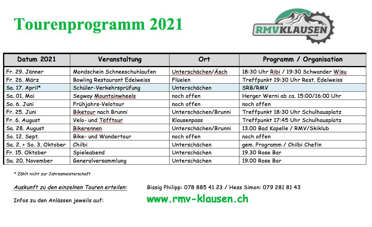 Tourenprogramm 2021