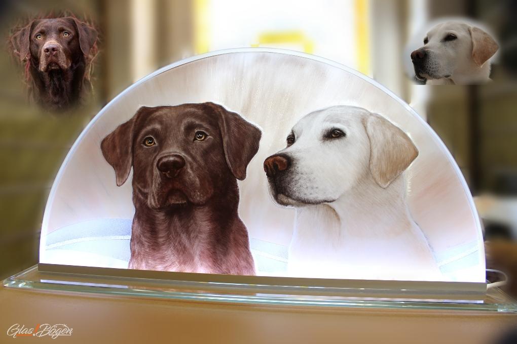 Hunde Portrait Glasmalerei