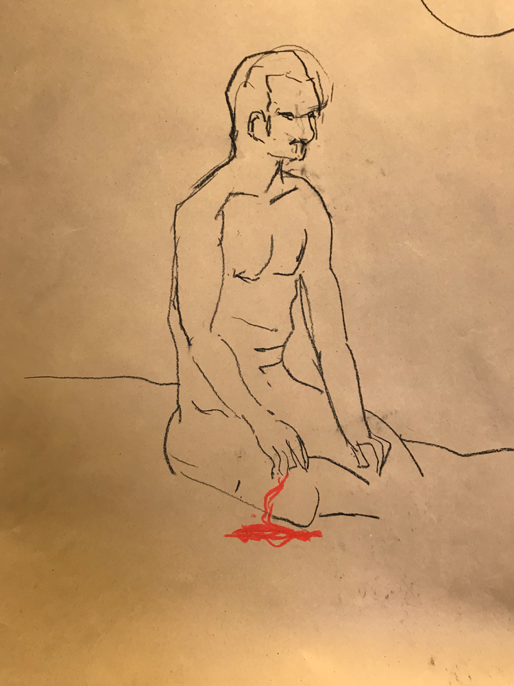 Body Art,  Chalk lead on paper / 70 x 50 cm