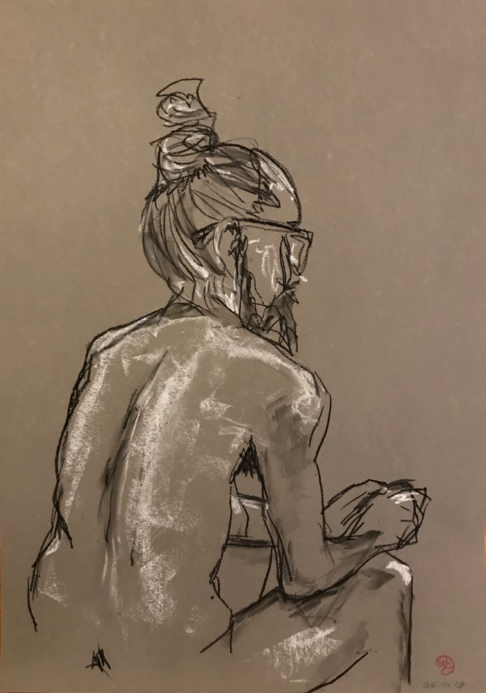 Yoga , Charcoal on paper / 59,4 x 42 cm / 2019 / 142