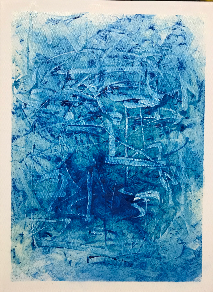 White  bordered variations in blue II , Mixed media on canvas / 40 x 30 cm / 2019 / 118