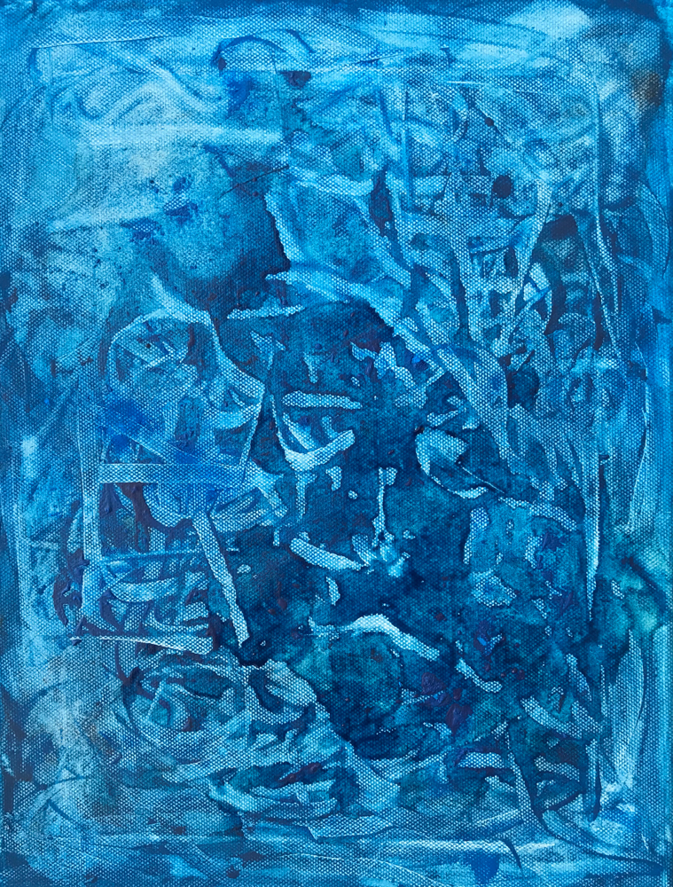 White bordered variations in blue I , Mixed media on canvas / 40 x 30 cm / 2019 / 117