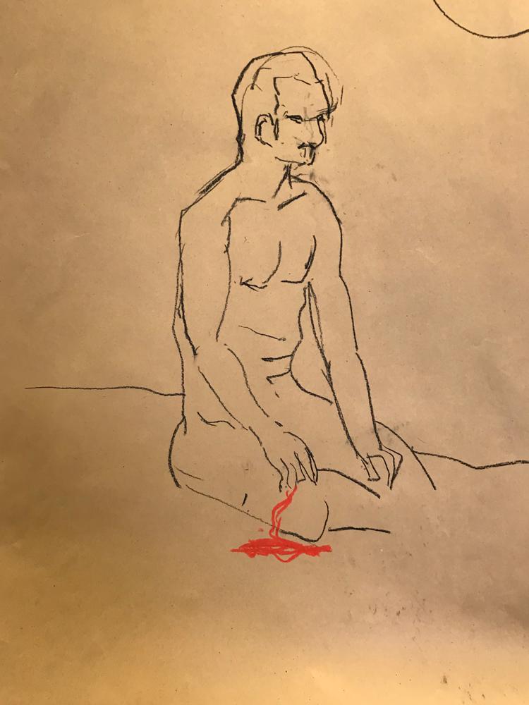 .........., Chalk lead on paper / 70 x 50 cm