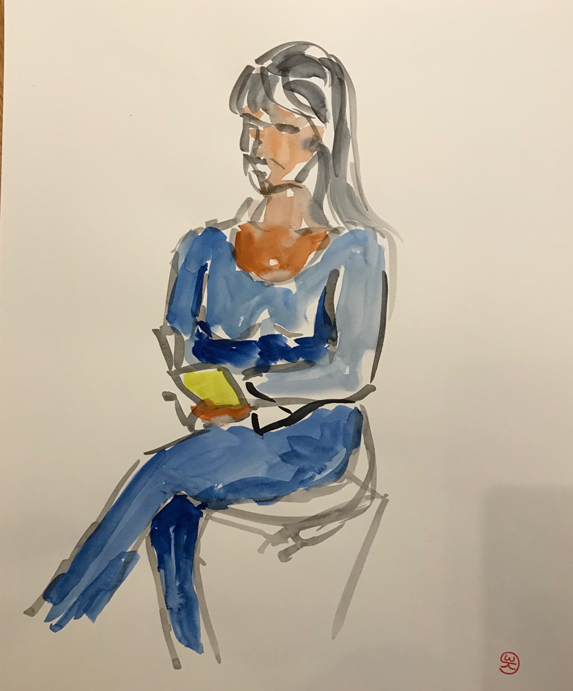 Reading , watercolor on paper / 50 x 40 cm / 2019 / 37
