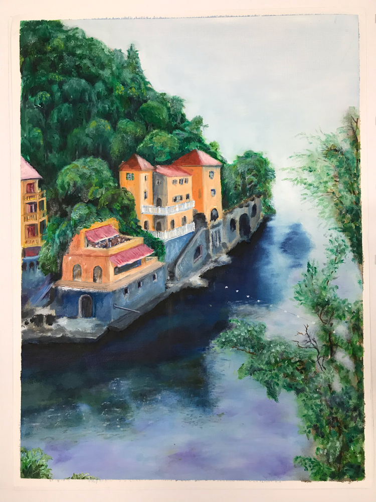 Anywhere in Portofino, Oil on canvas / 56 x 42 cm / 2018 / 125