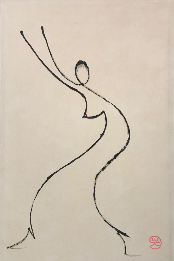 Dance with me, indian ink on velour paper, 29,7 x 21 cm, 2019, 164