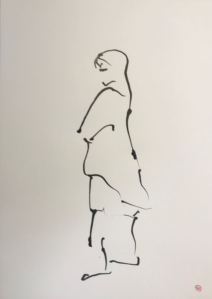Waiting for  IV ... , Ink on paper / 55 x 47 cm / 2019 , 11