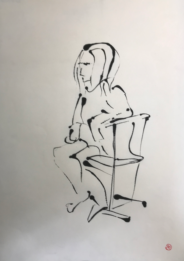 Waiting for .... I , Ink on paper / 70 x 50 cm / 2019 , 8