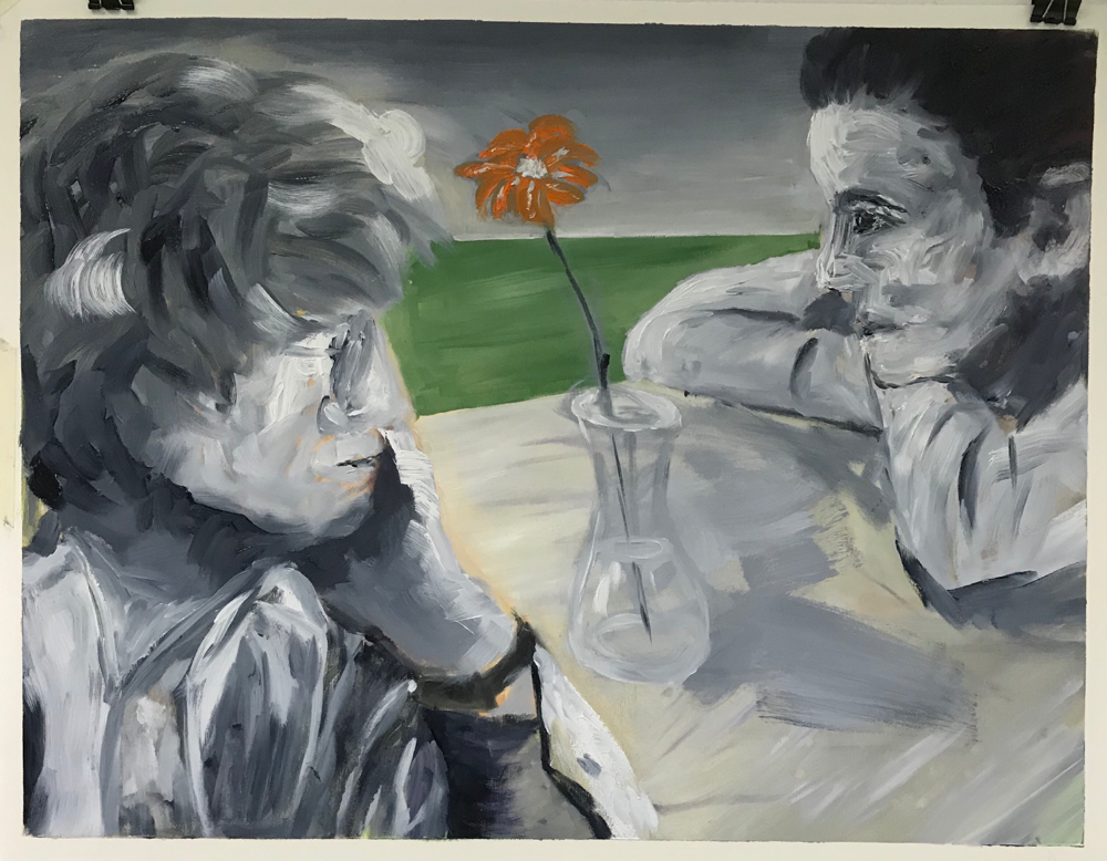 Let's talk again , Oil on paper /50 x 65 cm / 2019 / 29
