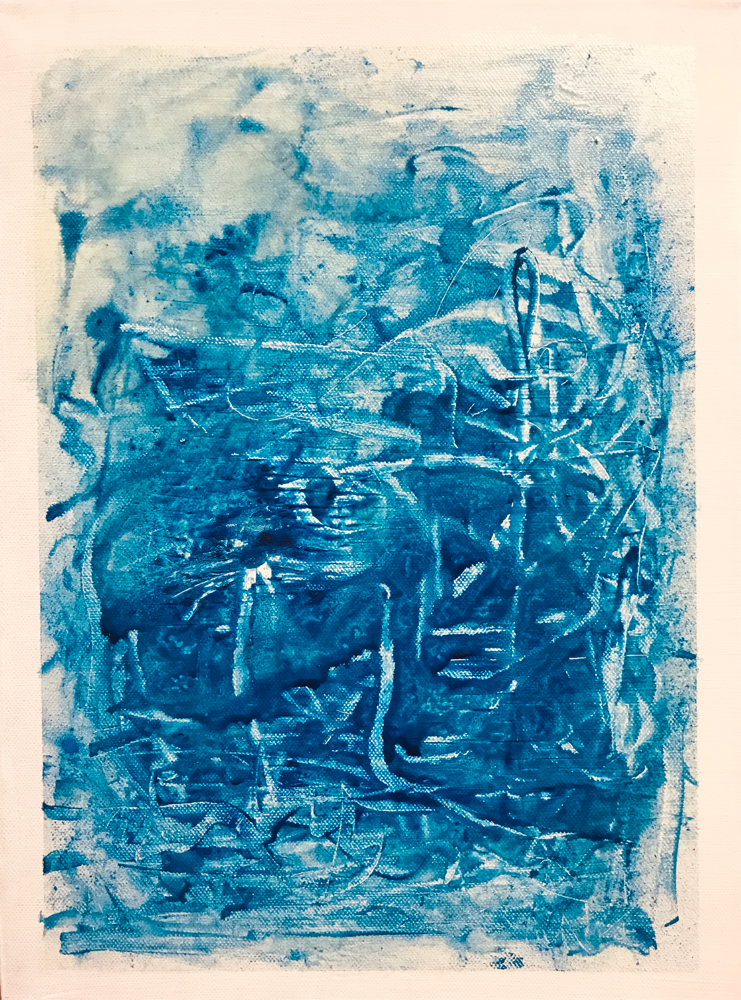 White bordered variations in blue III , Mixed media on canvas / 40 x 30 cm / 2019 / 119