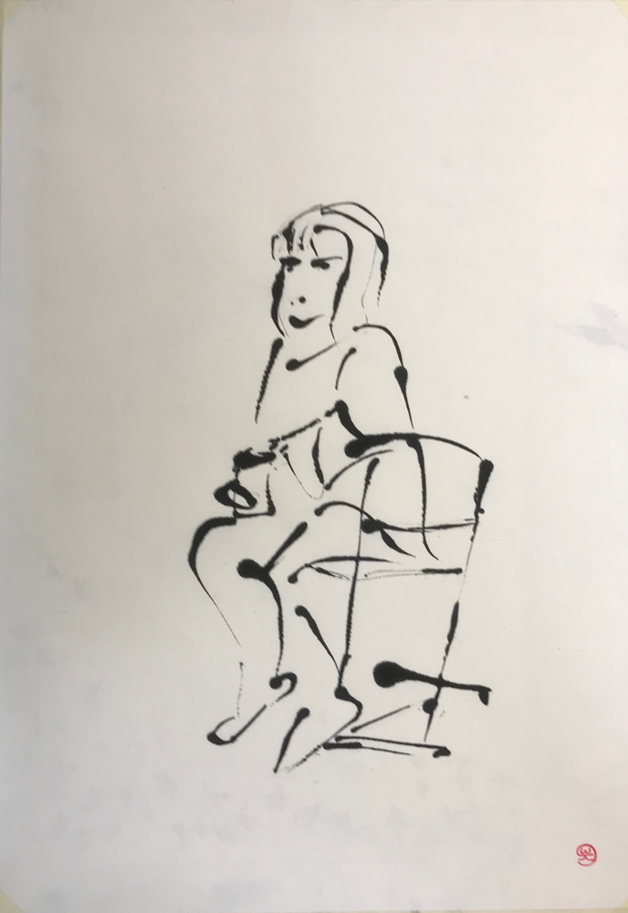 Waiting for V ... , Ink on handmade paper /  67 x 47 cm / 2019 , 12