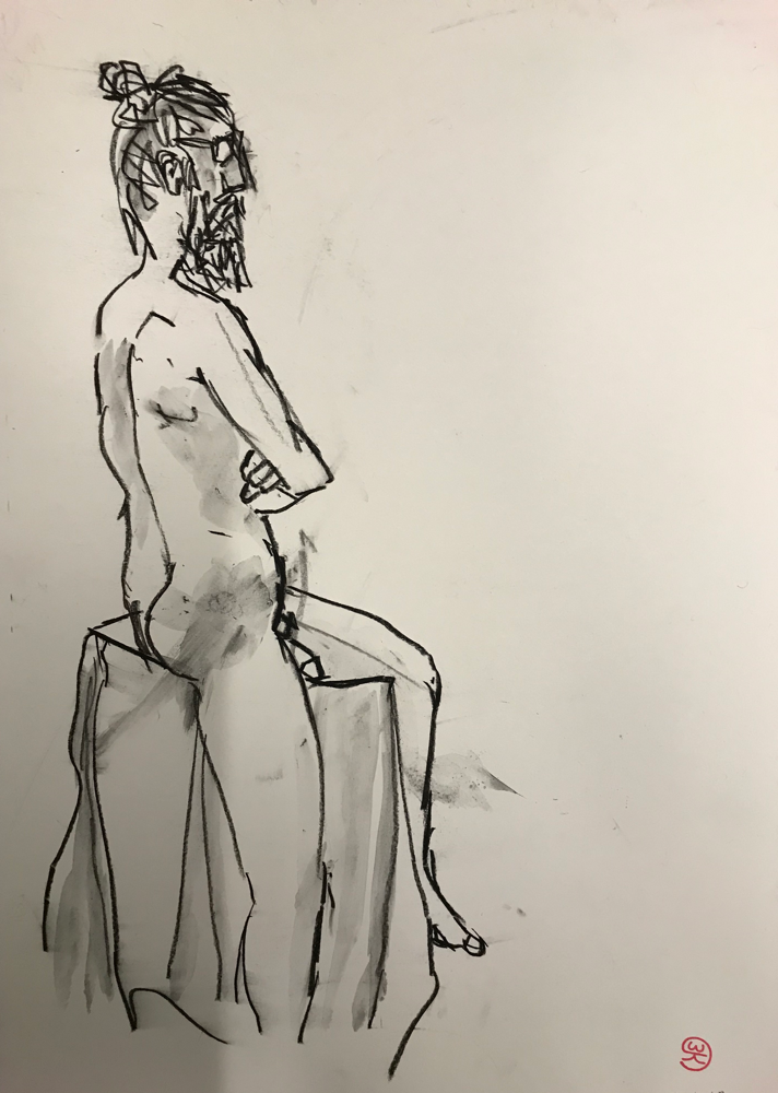 Zeus is waiting for the bus, Charcoal on paper / 51 x 36 cm / 2019 / 146