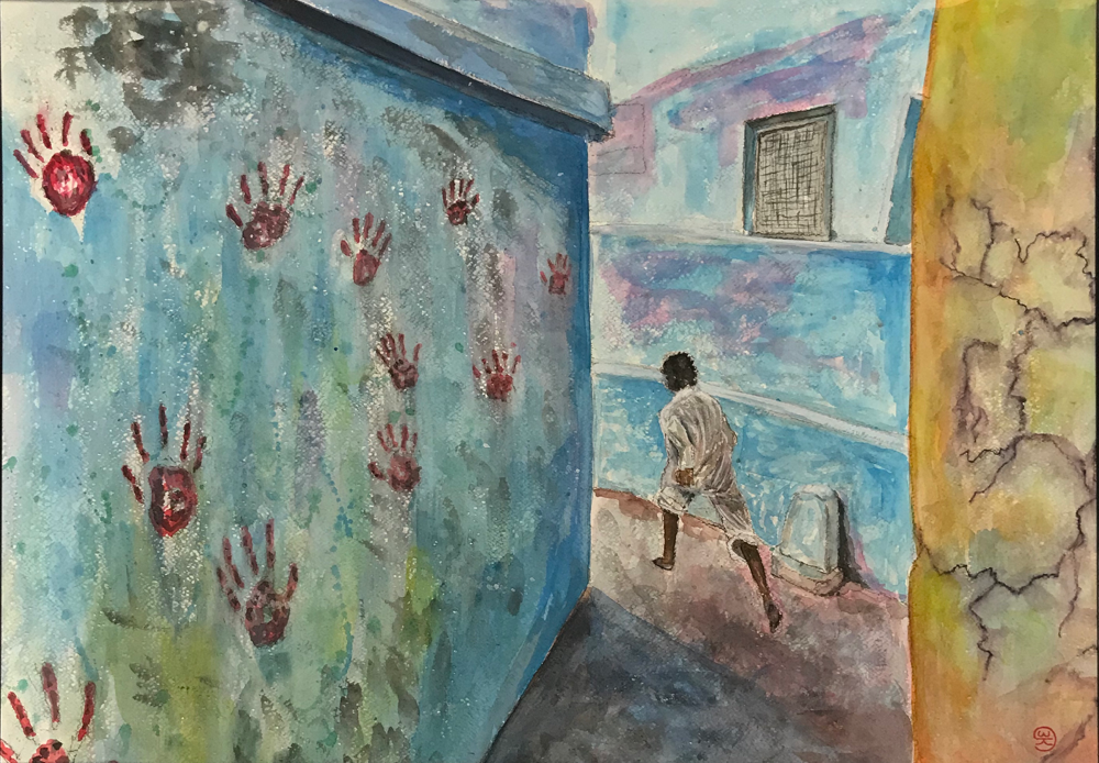 Running home , Water color on paper / 50 x 70 cm
