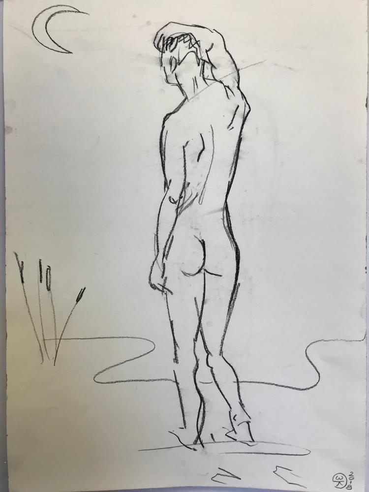 ........., Chalk lead on card board / 59,7 x 42 cm