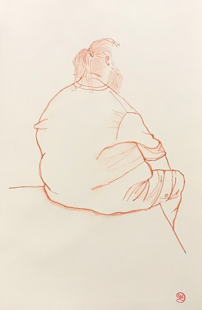 Relaxing / Red chalk on paper / 50 x 35 cm / 2019 / 109