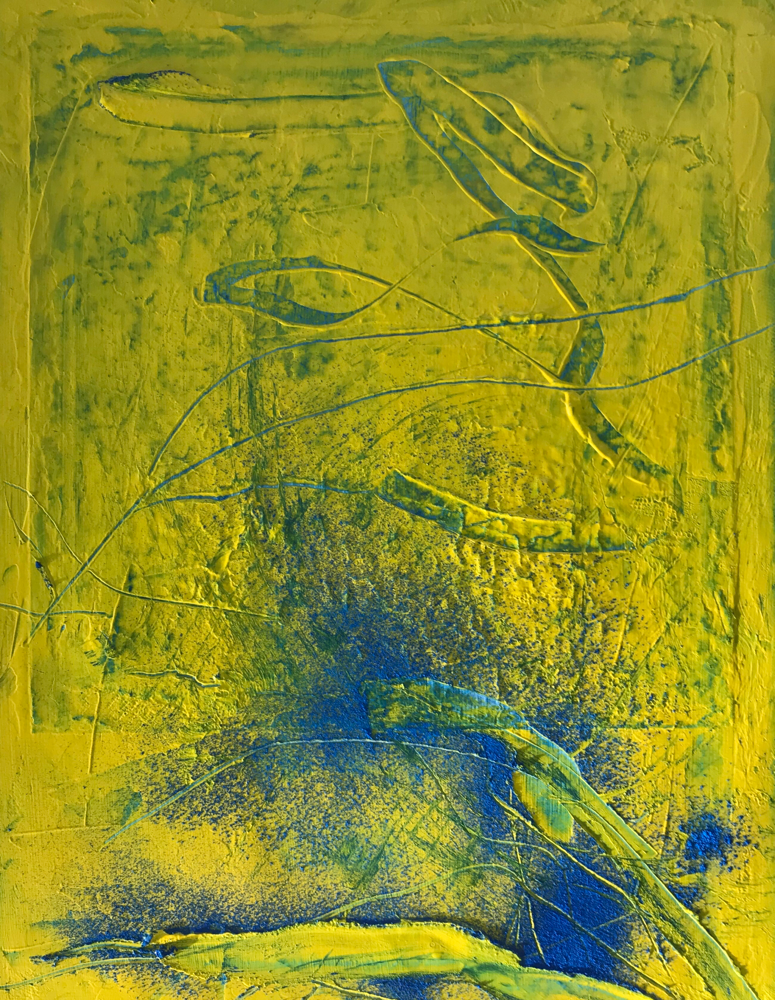 Blue on yellow , Acrylic on canvas / 40 x 30 cm / 2019 / 128
