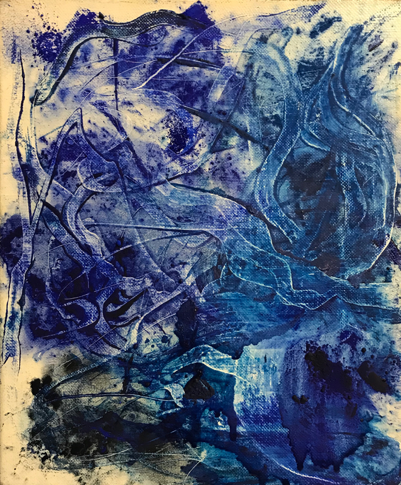 The blue source, mixed media on canvas, 30 x 25 cm, 2020, 14
