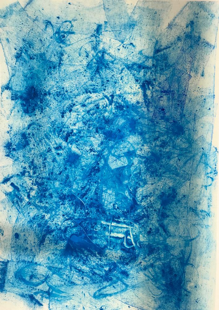 Partially deep blue II , Mixed Media on paper / 50 x 35 cm / 2019 / 115