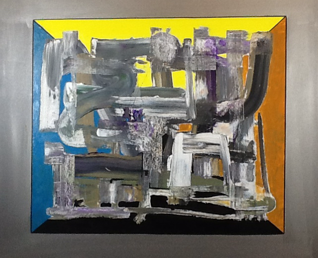 Sculpture in the room, acrylic on canvas / 80 x 100 cm