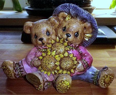 Teddypaar mit Sonnenblume