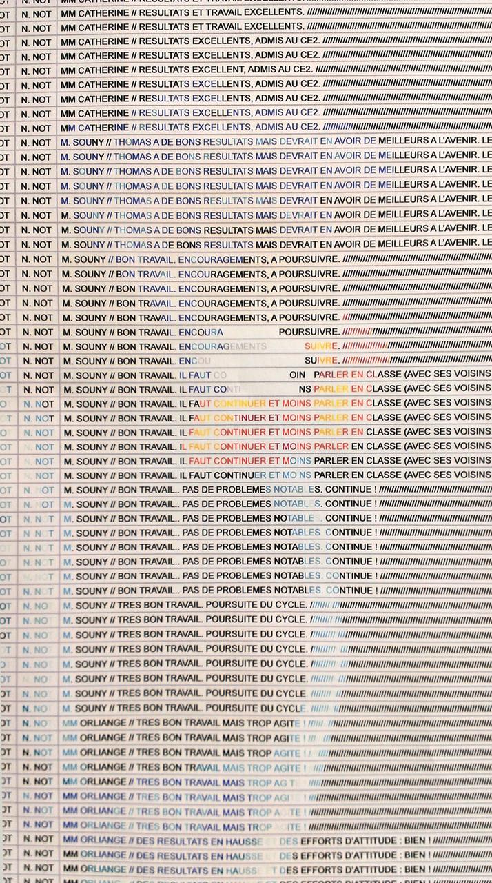 Thomas Tudoux, Mes Idoles (détail), tableur informatique, 2009
