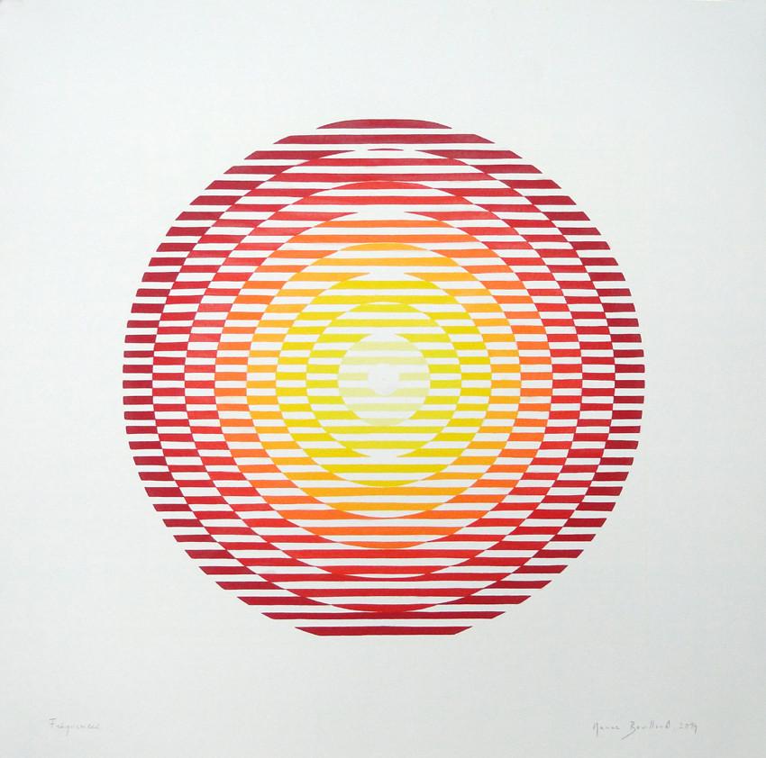Marine Bouilloud, Fréquences, 2014. Acrylique extra-fine sur papier Montval 400 grammes, 50 x 50 cm.