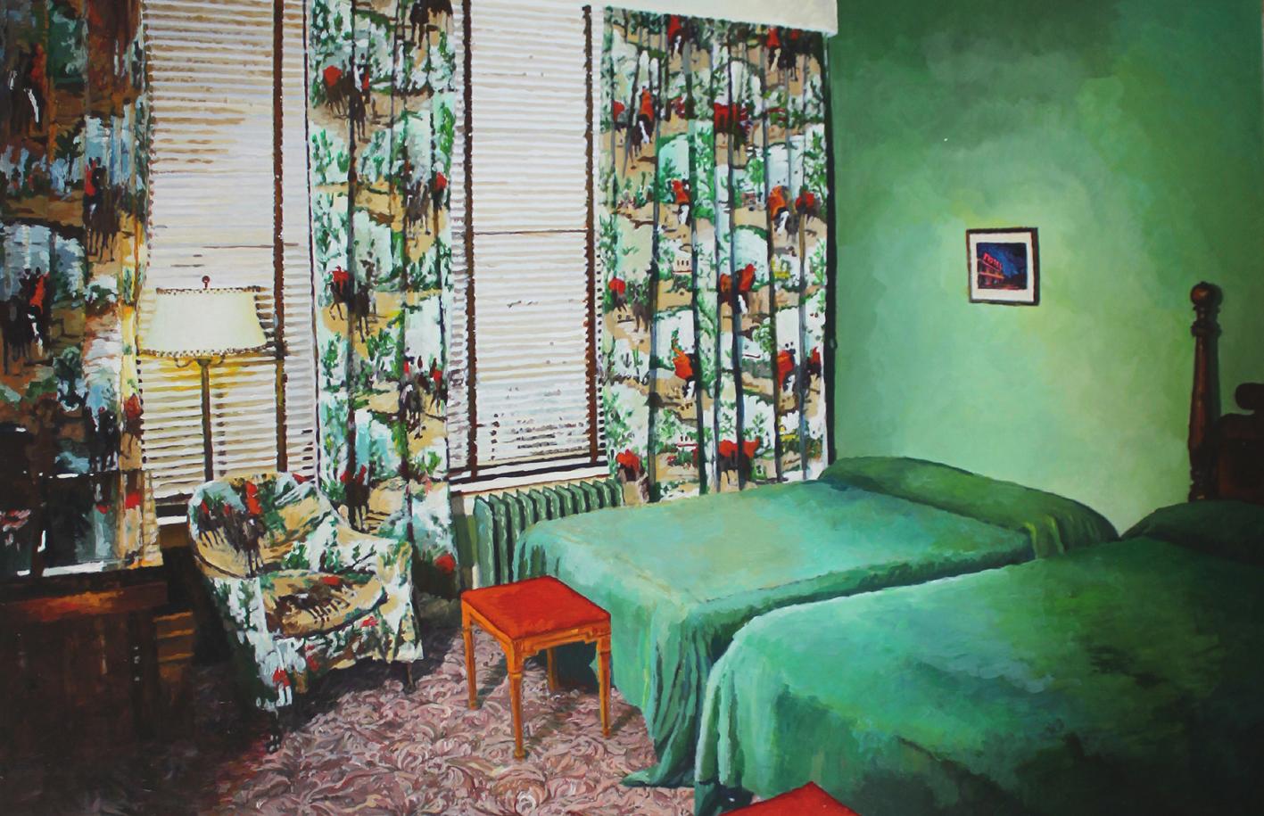 Julie Giraud, La Chambre verte, peinture acrylique sur papier Fabriano, 90 x 59 cm