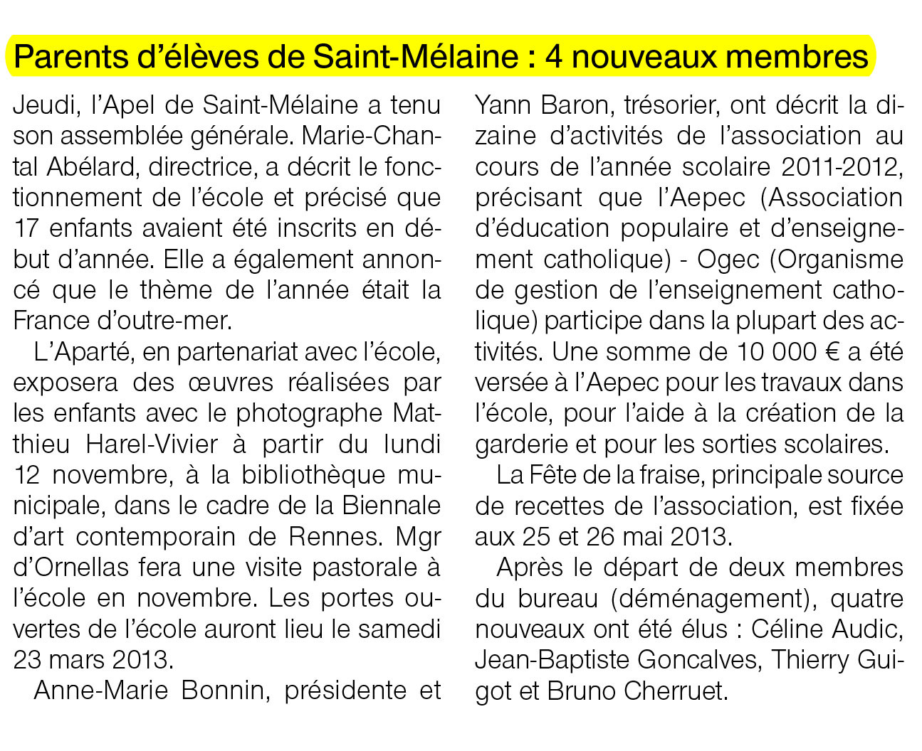 Ouest-France - 22 octobre 2012